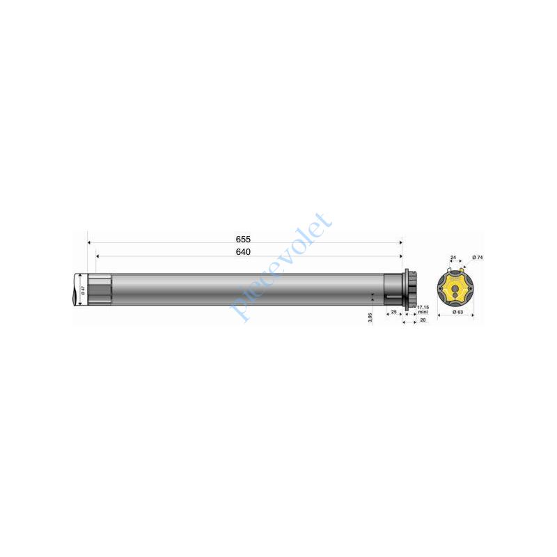 Somfy 9001353 tube d 39 adaptation pour porte fen tre de 2 50 for Porte de garage 2 50 m de large