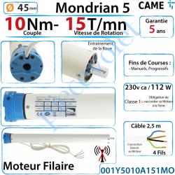 001Y5010A151MO Moteur Came Filaire 10/15 Série Mondrian 5 Diamètre 45 Fins de Courses Progressifs
