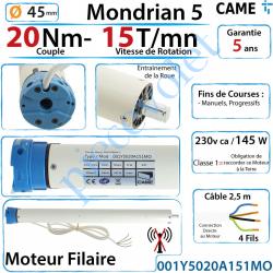 001Y5020A151MO Moteur Came Filaire 20/15 Série Mondrian 5 Diamètre 45 Fins de Courses Progressifs
