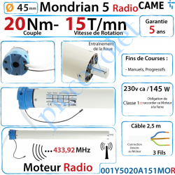 001Y5020A151MOR Moteur Came Radio 20/15 Mondrian R5 Diamètre 45 Fins de Courses Progressifs