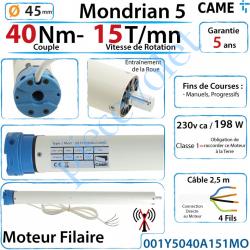 001Y5040A151MO Moteur Came Filaire 40/15 Série Mondrian 5 Diamètre 45 Fins de Courses Progressifs