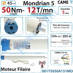 001Y5050A121MO Moteur Came Filaire 50/12 Série Mondrian 5 Diamètre 45 Fins de Courses Progressifs