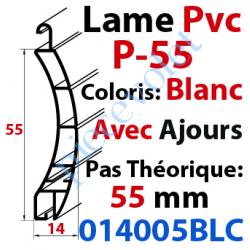 014028BLC Lame Pvc Double Paroi P-55 de 55 x 14 Coloris Blanc Avec Ajourage