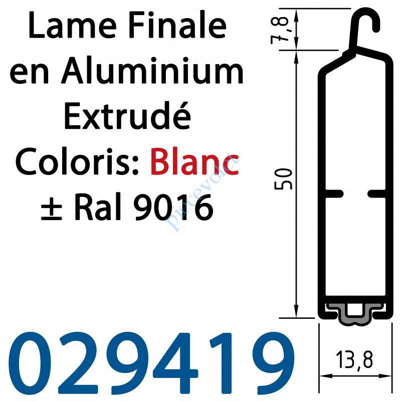 029419 Lame Finale Aluminium 51 x 14 mm à Grand Crochet Coloris ± Ral 9016 Blanc
