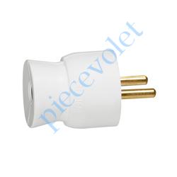 050415 Prise Electrique Mâle 2 P + T 16 A IP 40 en Plastique Blanc à Sortie Droite