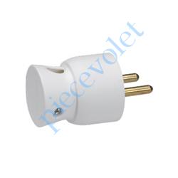 050416 Prise Electrique Mâle 2 P + T 16 A IP 40 en Plastique Blanc à Sortie Latérale