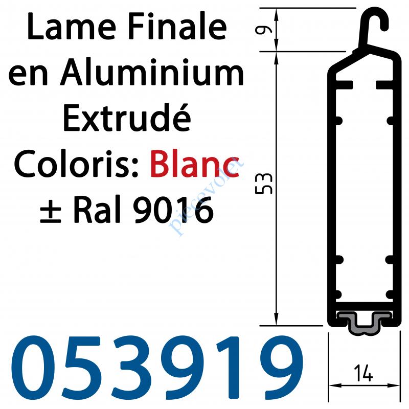 05391920 Lame Finale Aluminium 53 x 14 mm Coloris ± Ral 9016 Blanc pour Renfort Lame Finale