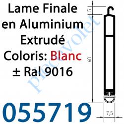 055719 Lame Finale Aluminium 60 x 8 mm Coloris ± Ral 9016 Blanc