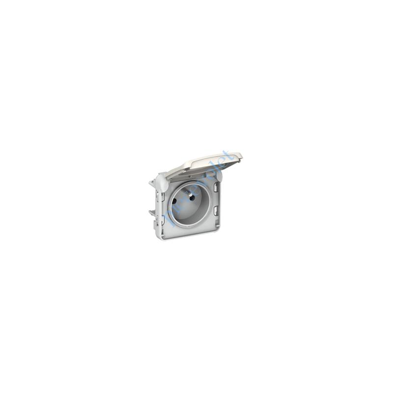 069621 Prise Plexo 2 P+T 16A 250v Etanche ip55 ik07 Coloris Blanc pour Pose sur Boîtier Plexo NM