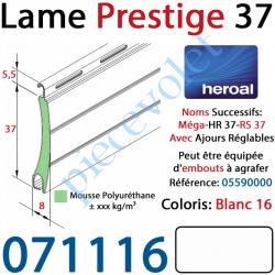 071116 Lame Alu Double Paroi Injectée de Mousse de Polyuréthane Hr37 de 37x8 Coloris Blanc 16 Avec Ajourage