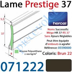071222 Lame Alu Double Paroi Injectée de Mousse de Polyuréthane Hr37 de 37x8 Coloris Brun 22 Sans Ajourage