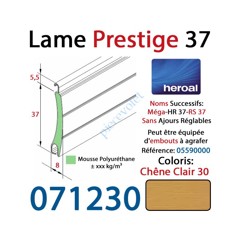 071230 Lame Alu Double Paroi Injectée de Mousse de Polyuréthane Hr37 de 37x8 Coloris Chêne Clair 30 Sans Ajourage