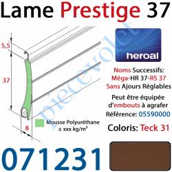 071231 Lame Alu Double Paroi Injectée de Mousse de Polyuréthane Hr37 de 37x8 Coloris Teck 31 Sans Ajourage