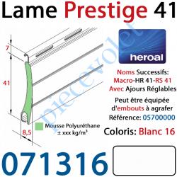 071316 Lame Alu Double Paroi Injectée de Mousse de Polyuréthane Hr41 de 41x8,5 Coloris Blanc 16 Avec Ajourage
