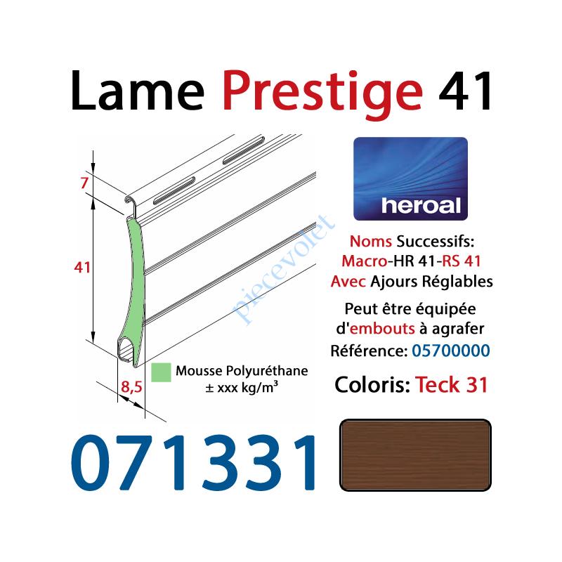071331 Lame Alu Double Paroi Injectée de Mousse Polyuréthane Hr41 de 41x8,5 Coloris Teck 31 Avec Ajourage