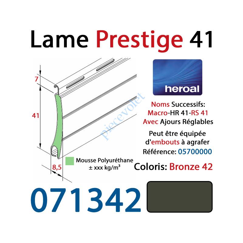 071342 Lame Alu Double Paroi Injectée de Mousse Polyuréthane Hr41 de 41x8,5 Coloris Bronze 42 Avec Ajourage