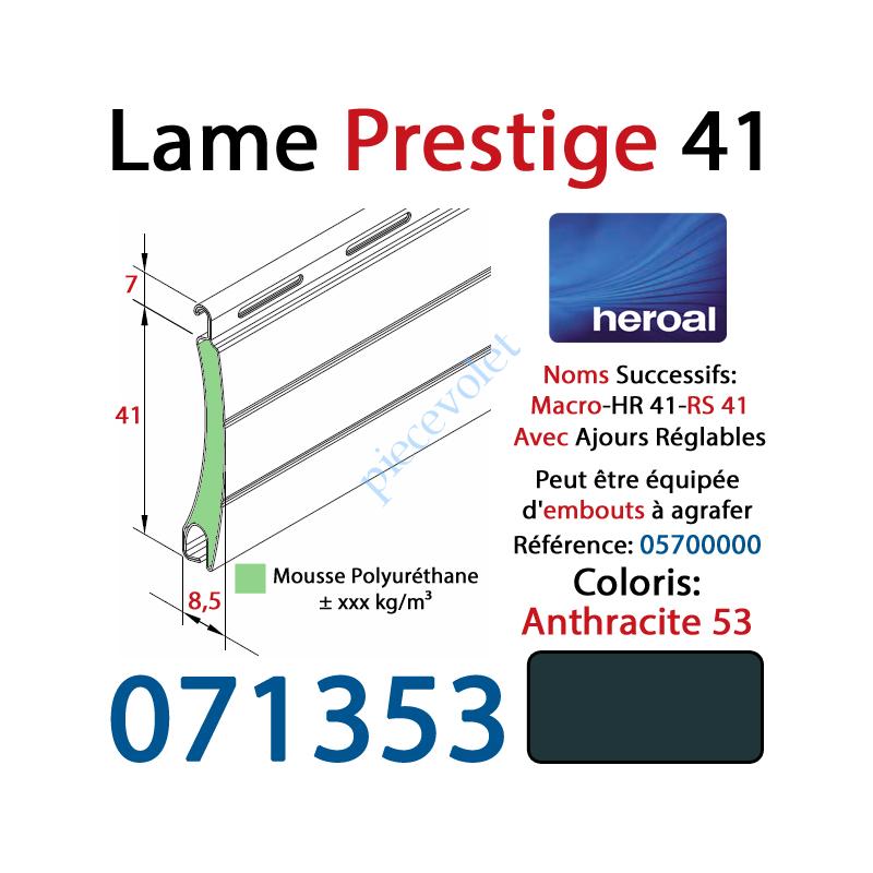 071353 Lame Alu Double Paroi Injectée de Mousse Polyuréthane Hr41 41x8,5 Coloris Gris Anthracite 53 ±Ral7016 Avec Ajourage