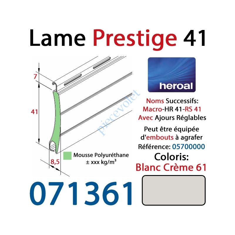 071361 Lame Alu Double Paroi Injectée de Mousse Polyuréthane Hr41 de 41x8,5 Coloris Blanc Crème 61 Avec Ajourage