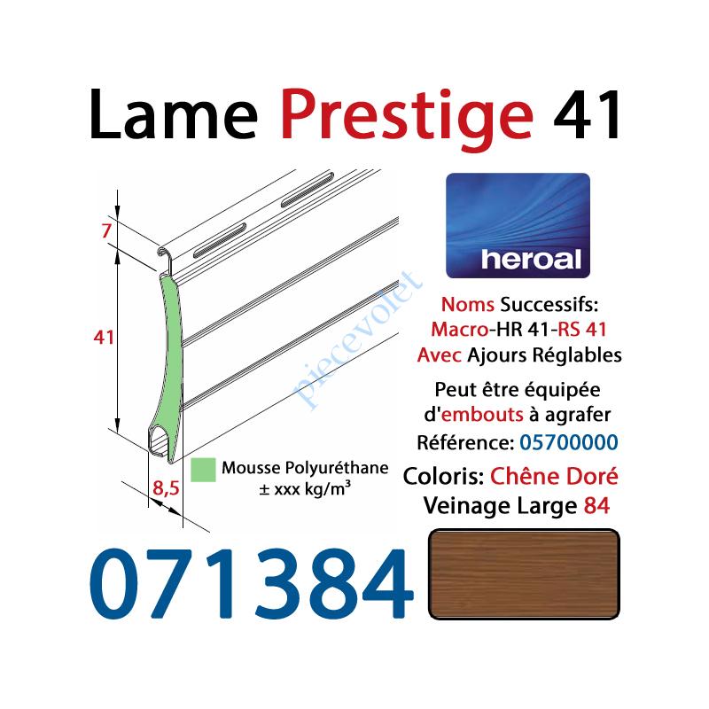 071384 Lame Alu Double Paroi Injectée de Mousse Polyuréthane Hr41 41x8,5 Coloris Chêne Doré Veinage Large Avec Ajourage