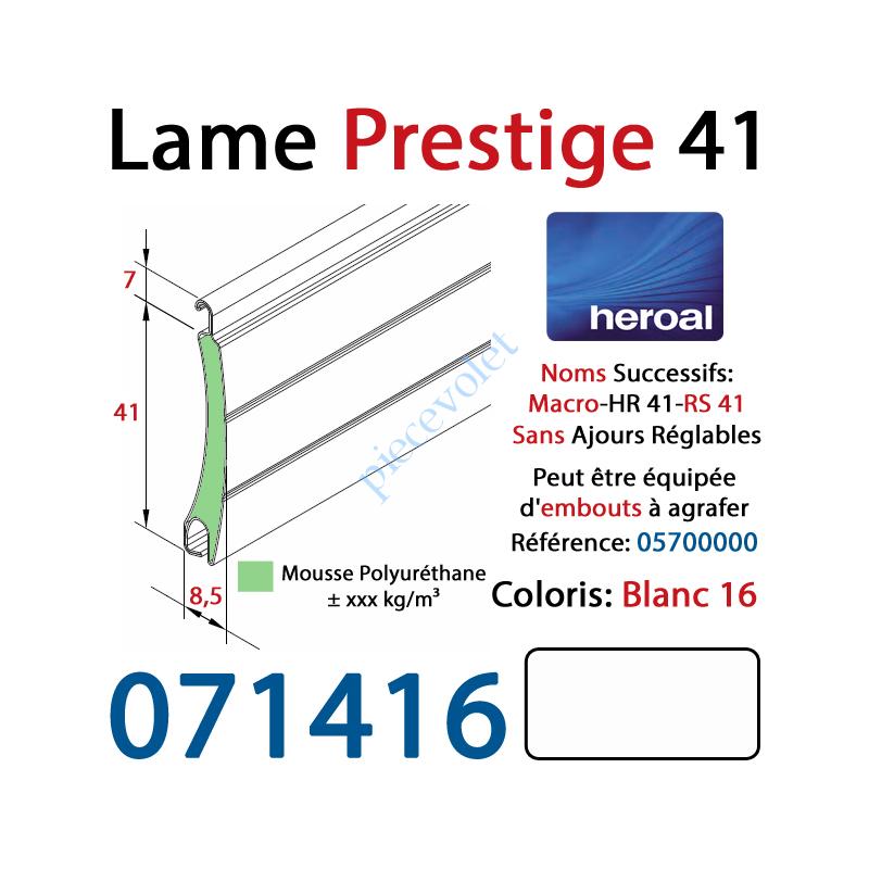 071416 Lame Alu Double Paroi Injectée de Mousse Polyuréthane Hr41 de 41x8,5 Coloris Blanc Sans Ajourage