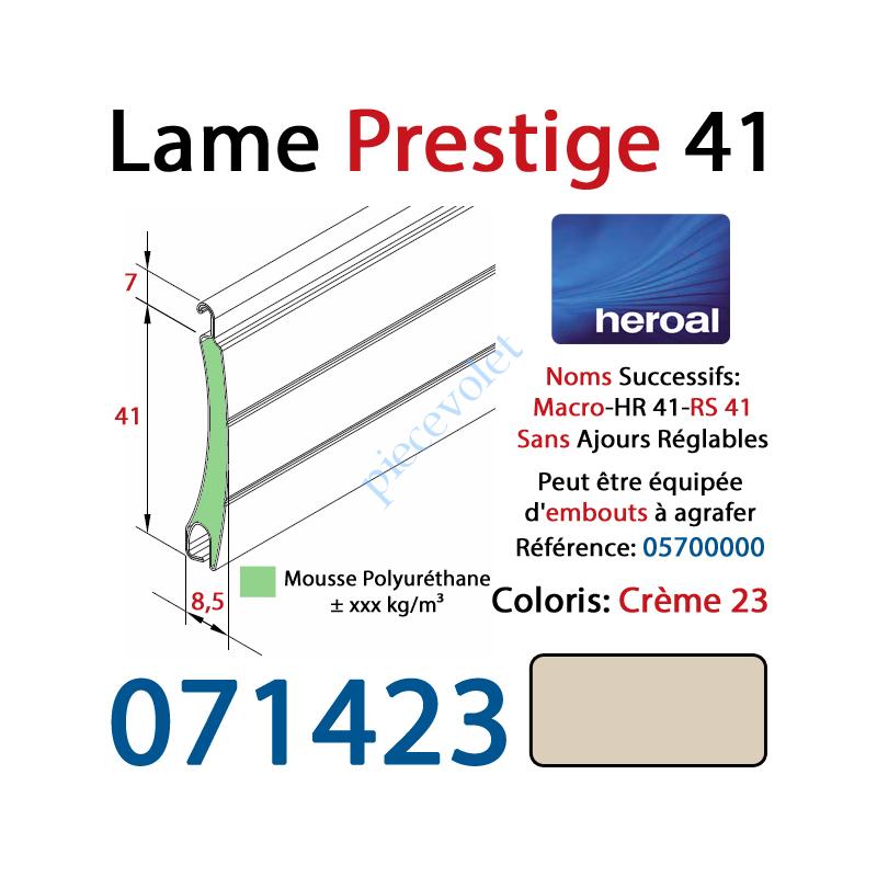 071423 Lame Alu Double Paroi Injectée de Mousse Polyuréthane Hr41 de 41x8,5 Coloris Crème Sans Ajourage