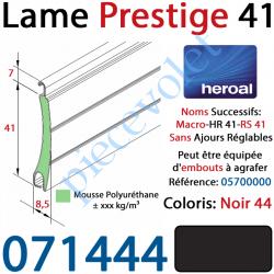 071444 Lame Alu Double Paroi Injectée de Mousse Polyuréthane Hr41 de41x8,5 Coloris Noir ±Ral9005 Sans Ajourage