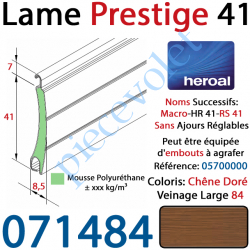 071484 Lame Alu Double Paroi Injectée de Mousse Polyuréthane Hr41 41x8,5 Coloris Chêne Doré Veinage Large Sans Ajourage