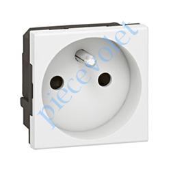 077111 Prise Electrique Femelle 2 P + T 16 A 250v Série Mosaïc en Plastique Blanc