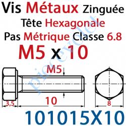 101015X10 Vis Métaux Tête Hexagonale Zinguée 5 x 10 mm Filetage Total Classe 6.8 Iso 4017