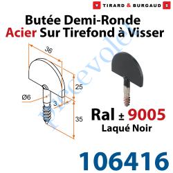 106416 Butée Droite Tirefond à Visser en Acier Zingué Laqué Noir ± Ral 9005