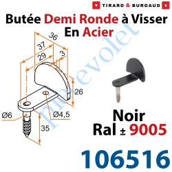 106516 Butée Coudée Tirefond à Visser en Acier Zingué Laqué Noir ± Ral 9005