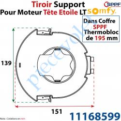 11168599 Tiroir Support Moteur Somfy LT Tête Etoile pour Coffre Sppf Thermobloc de 195 mm en Matériau Composite