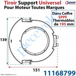 11168799 Tiroir Support Universel pour Moteur Toutes Marques pour Coffre Sppf Thermobloc de 195 mm en Matériau Composite