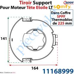 11168999 Tiroir Support Moteur Somfy LT Tête Etoile pour Coffre Sppf Thermobloc de 225 mm en Matériau Composite