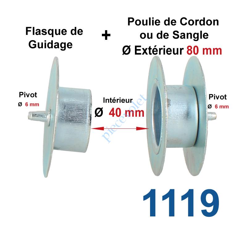 1119 Poulie de Cordon ou de Sangle ø 80 mm et Flasque de Guidage côté Opposé pour tube Rond diamètre 40 Pivot diamètre 6 mm