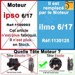 1130003 Moteur Somfy Ipso 6/17 LT 50.Ce Moteur est remplacé par la REF. 1130125