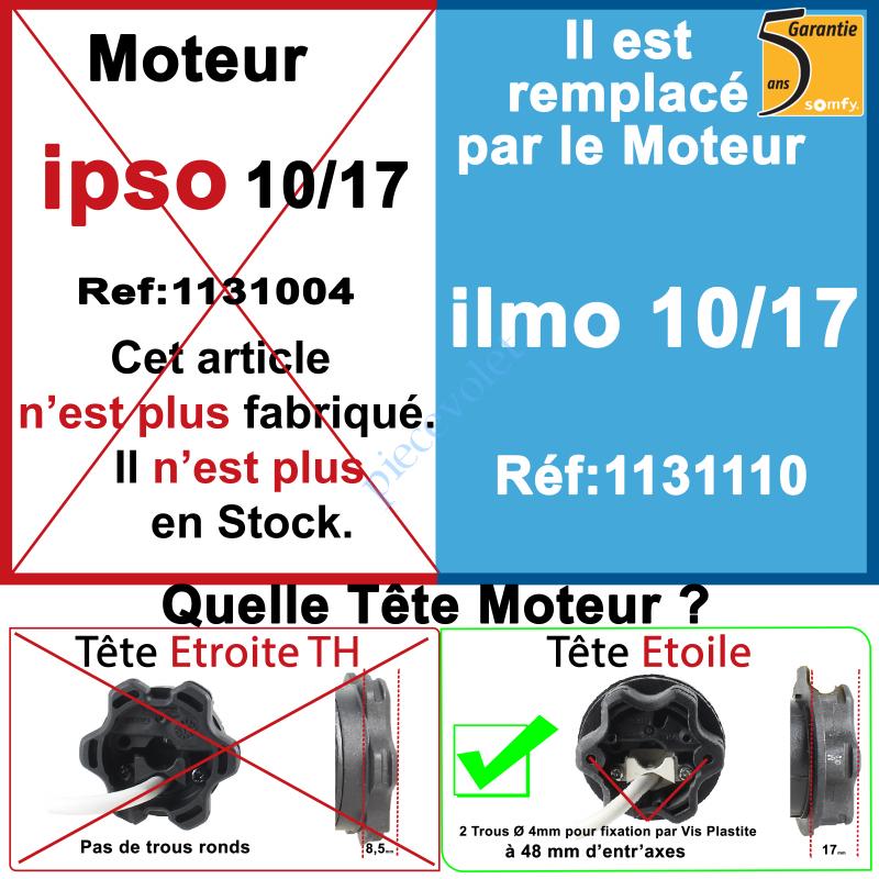 1131004 Moteur Somfy Ipso 10/17 LT 50. Ce moteur est remplacé par la REF. 1131110