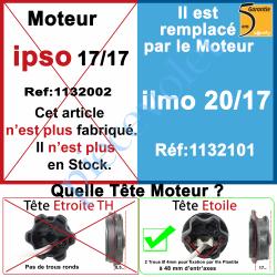 1132002 Moteur Somfy Ipso 17/17 LT 50. Ce moteur est remplacé par la REF. 1132101