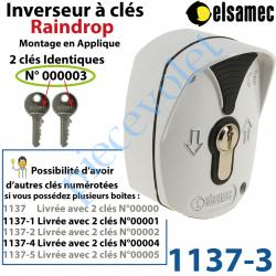 1137-3 Inverseur à Clés n°3 Raindrop Elsamec et Déverrouillage de l'Electro-frein en Applique 5 A sous 230 vca ip54