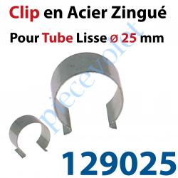 129025 Clip en Acier Zingué pour Tube Lisse ø 25 mm