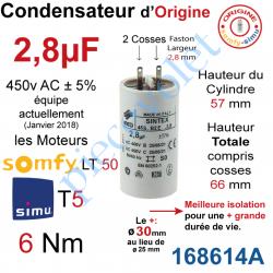 168614A Condensateur d'Origine pour Moteur Tubulaire Simu ou Somfy à Cosses Faston 2,8 mm Capacité 2,8µF ±5% 400-450v