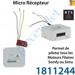 1811244 Micro Récepteur Somfy Rts pour Volet Roulant à intégrer derrière l'inverseur Filaire ip20