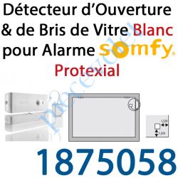1875058 Détecteur d'Ouverture & Bris de Vitre Nouvel Aspect Coloris Blanc pour Alarme Protexial