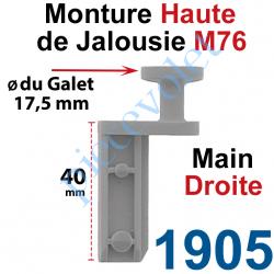 1905 Monture Haute de Jalousie Accordéon M76 à Clipper Diamètre du Galet Moulé 17,5mm Main Droite en Plastique Gris