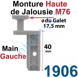 1906 Monture Haute de Jalousie Accordéon M76 à Clipper Diamètre du Galet Moulé 17,5mm Main Gauche en Plastique Gris