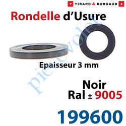 199600 Rondelle d'usure Epaisseur 3 mm en Matériau Composite Noir ± Ral 9005 pour Gond ø 14mm