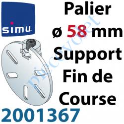 2001367 Support Côté Opposé ø58mm pour Téton ø10mm Avec 1 Vis et 1 écrou de Blocage pour Embout Fin de Course 2003767 ou 2003766