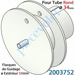 2003752 Poulie de Cordon ou de Sangle ø 50 mm Emb Rond à Goutte ø 34 Lg Entre Flasque 10 mm Pivot Ext diamètre 6 mm