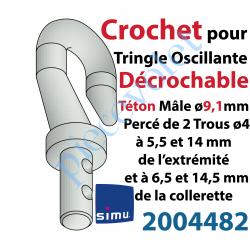 2004482 Crochet Classique en Zamac ->Tringle Oscillante Téton Mâle ø9,1mm Percé ø4 à 6,5 et 14,5 mm de la Collerette