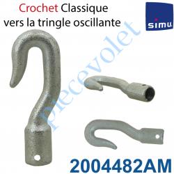 2004482AM Crochet Classique en Acier Zingué ->Tringle Oscillante Percement Femelle ø13mm Percé ø4 à 6 mm de l'extrémité